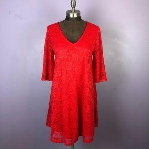 Francesca's Red Bell Lace Flutter Shift Dress NWT